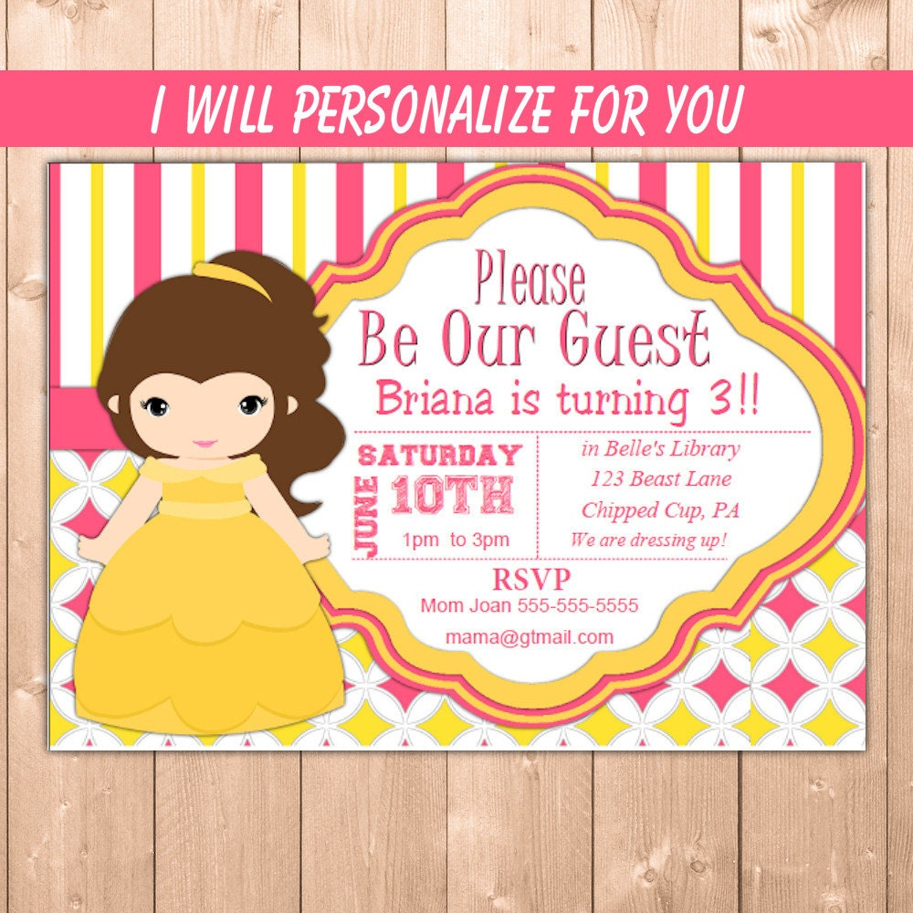 Party invitation page 7 funpartysupply belle invitation princess belle party invitation belle birthday party invitation girl personalize for you filmwisefo