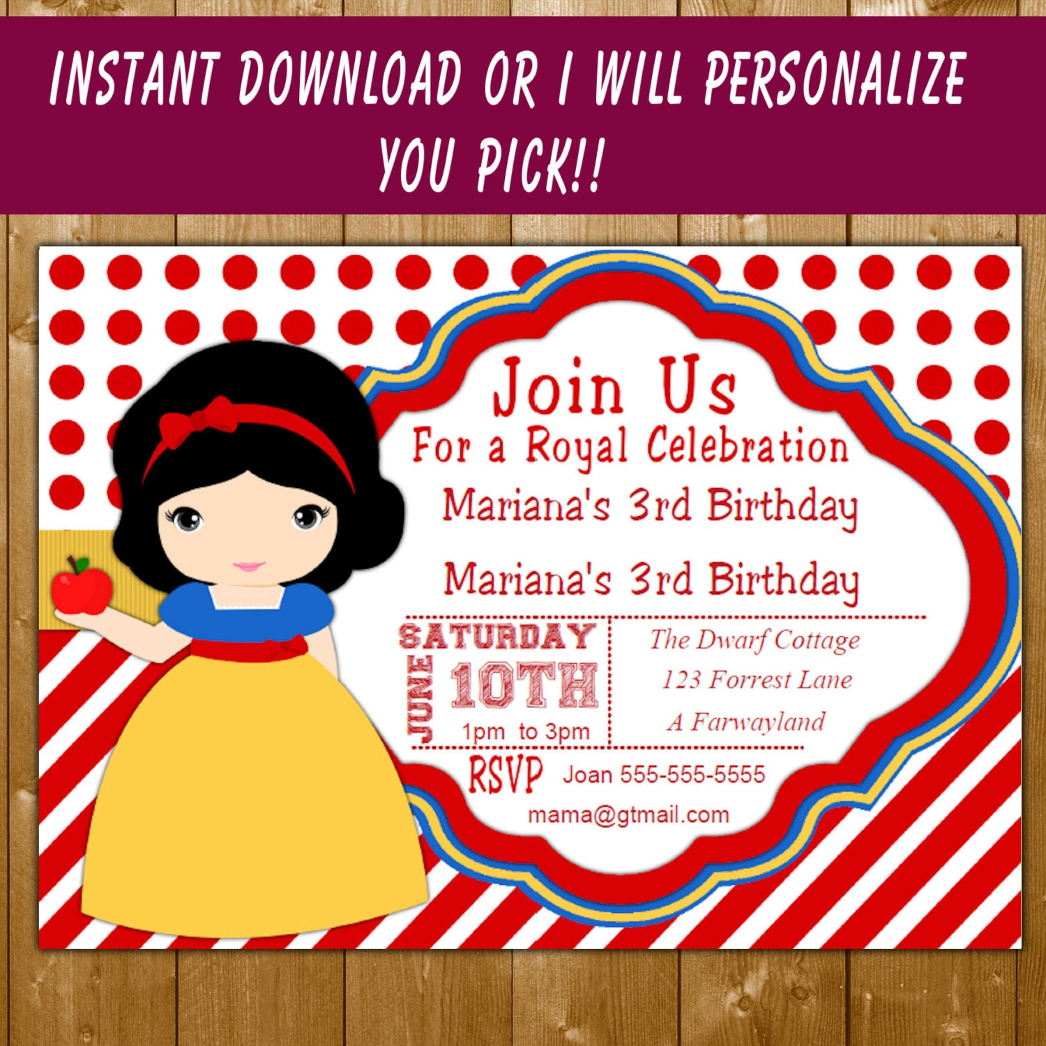 Princess invitation funpartysupply snow white invitation princess snow white birthday invitation birthday party invitation personalized girl invitation free thank you note filmwisefo