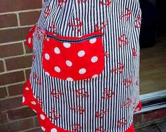 Lovely Handmade Anchors, Polka Dots & Stripes Half Pinny/Apron Retro Kitsch Rockabilly