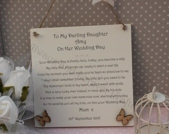 Wedding Gift For Groom From Sister : wedding day gift plaque personalised wedding plaque bride wedding ...