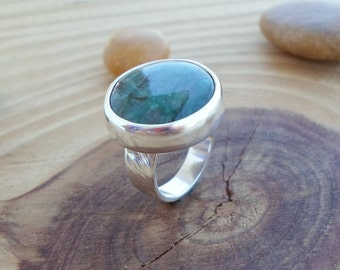 Chrysocolla sterling silver ring, nature jewelry, gemstone silver ring, chrysocolla jewelry, artisan silver ring, silversmith jewelry