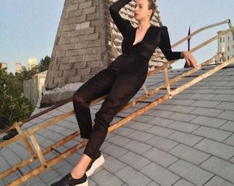 Vintage Deep-V Black Satin Bodysuit