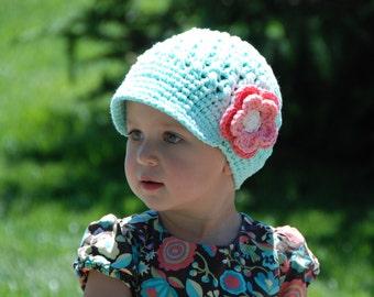 Mint green baby girl hat, newsboy hat for toddler girls, girls newsboy hat, cotton beanie, birthday gift toddlers,  hat with flower