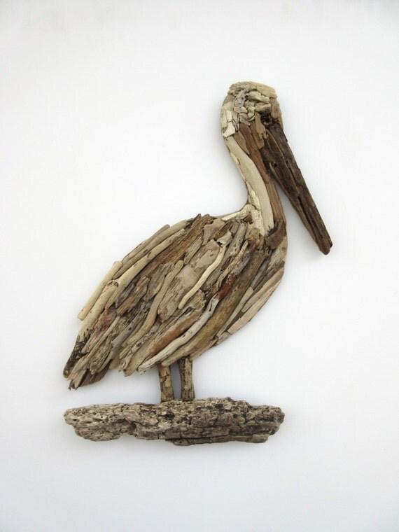 Driftwood Pelican Coastal Wall Decor