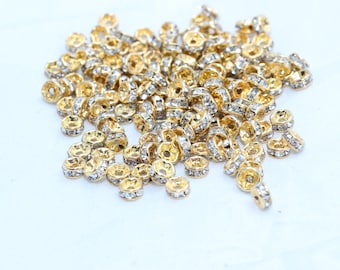 10 Pcs Spacer Beads 4mm , Rhinestone spacer Beads , Rondelle Beads , Tiny Spacer Beads , KA61