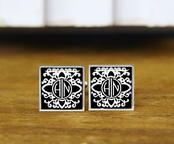 monogram cufflinks, 1920s style initials cufflinks, personalized cufflinks, custom wedding cufflinks, round, square cufflinks, tie clips