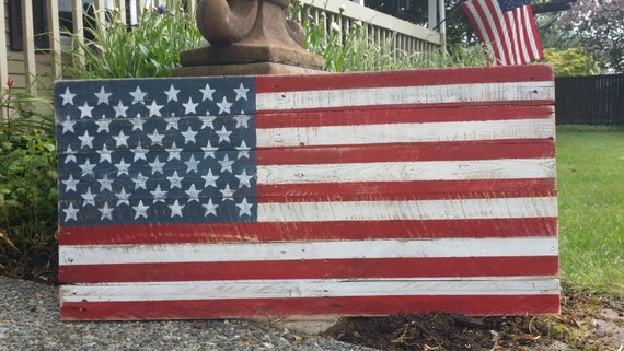 Rustic american flag wood sign hand painted sign 40 by for Painted american flag wall art