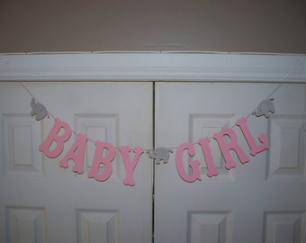 BABY GIRL Letter Banner - Light Pink and Grey Elephant Letter Garland - Cardstock - Wall Decor - Baby Shower Decoration