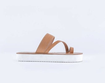 Greek leather sandal with a white rubber sole totally handmade -Leto