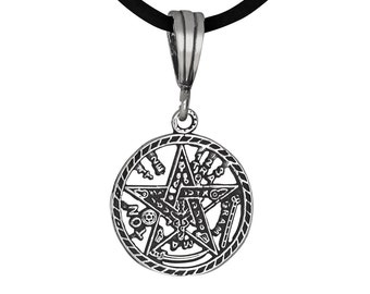 Sterling Silver .925 Tetragrammaton Pentagram Pagan Wiccan Charm Pendant, Oxidized | Made in USA