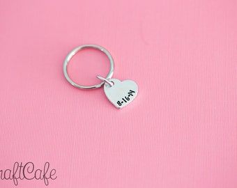 Hand Stamped Special Date Keychain - Hand Stamped Jewelry