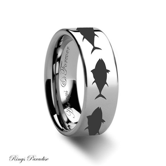 Fish engraved ring fish tungsten band his promise ring for Mens fishing wedding bands