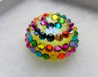 Fairground Lights Glitter Dome Resin Ring Rainbow Funfair  Festival Summer Neon Kawaii Gumball Charm Carnival Swarovski Crystals