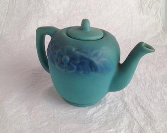 Van Briggle blue green teapot