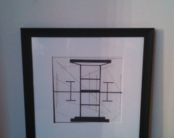 Tower- Framed 8x8 Abstract Original Line Drawing