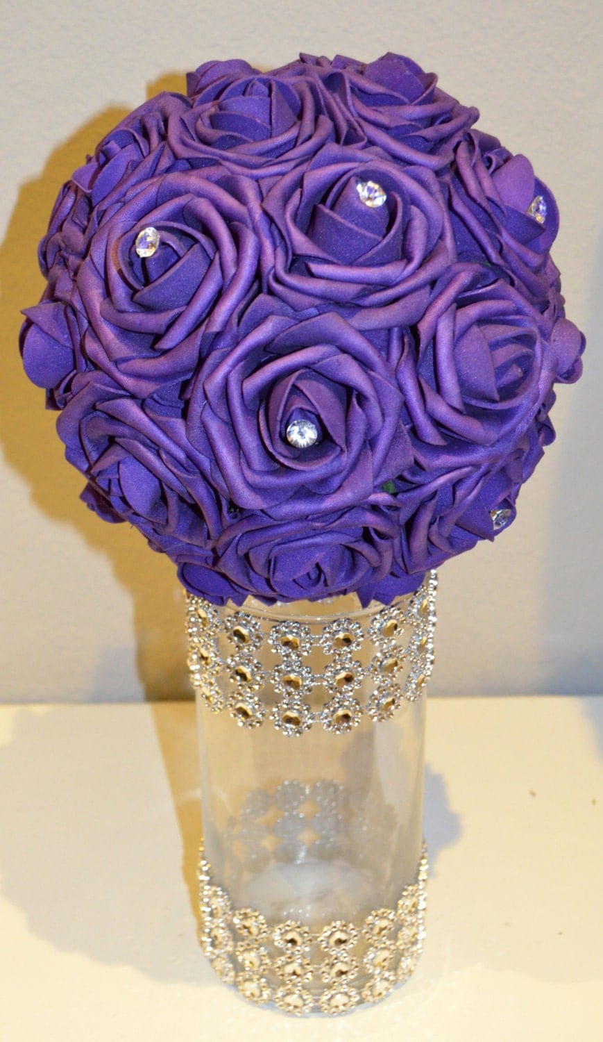 Purple bling foam flower ball wedding centerpiece by