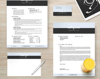 "Resume Template Package | CV Template + Cover Letter + Business Card + Thank You Note for MS Word | Instant Digital Download | The ""Ashley"""