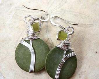 Olive Green Earrings, Sage Earrings, Olive Green, Green Earrings, Olive Jewelry, Grey Green, Wirewrapped Earrings, Moss Green Earrings