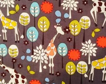 Michael Miller Giraffe Garden Gray Fabric Cotton