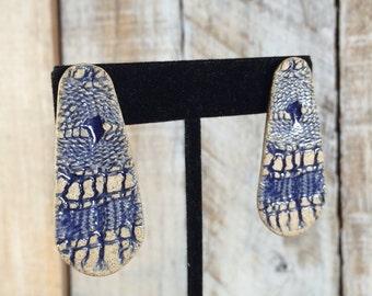 Stone Earrings - Carved Rock Earrings - rock slice earrings - pebble earrings - snake, tribal earrings - ethnic jewelry - stud drop earrings