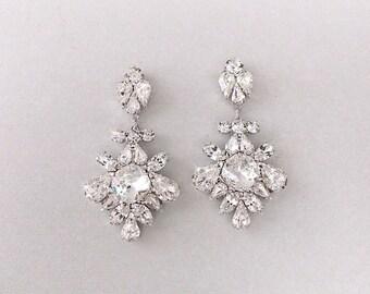 Wedding Earrings - Chandelier Bridal Earrings, Vintage Wedding, Crystal Earrings, Dangle Earrings, Wedding Jewelry - CHIARA