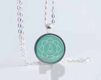 Lotus Flower Buddha Peace Calm Art Pendant Meditation Jewelry Yoga Necklace