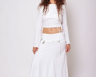 White Long Skirt , White Gypsy Skirt , Maxi Skirt , Fairy Skirt , Hippie Skirt
