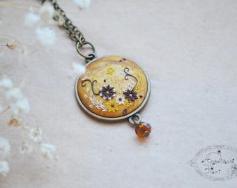 Gold color pendant, filigree, blue pendant, gold pendant, polymer pendant, flower pendant, polymer filigree