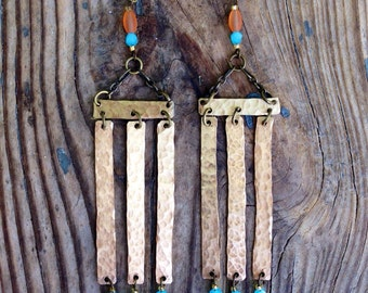 Unique Gypsy Boho Inspired Brass Gold Chandelier Earrings with Glass Turquoise Beads and Orange Accents Handmade.