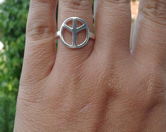Peace Ring , Metalwork , Love Ring , Dainty Ring , Sterling Silver Sign , Men Ring , Statement Ring , Casual Silver Ring , Peace Symbol Ring
