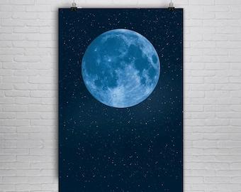 Large Blue Moon Print - Moon Poster - Moon Art Print - Moon Art - Space Print - Poster - Art Print - Celestial - La Lune - NASA - Large Moon