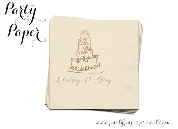 100 Custom Wedding Cake Napkins Monogrammed By PartyPaperPresents