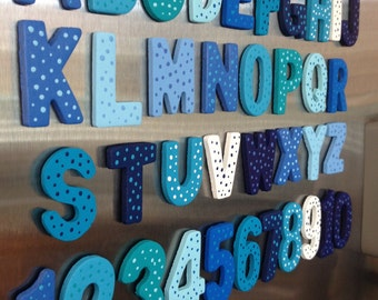 Complete wooden alphabet letters and numbers 1-10; Fridge magnets; Magnets for kids; kids birthday gift; personalized designs
