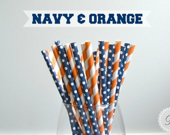 NAVY & ORANGE // 25 Pk Paper Straws // Stripes - Polka Dots // Graduation Party // Auburn // University of Illinois // Denver Broncos