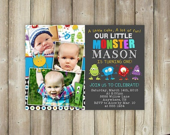 LITTLE MONSTER First Birthday Invitation, Boys 1st Bday Invites, Multiple Photos, Digital File, Print Yourself, Our Little Monster