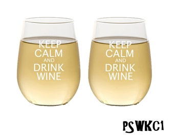 Stemless Wine Glasses / Keep Calm and Drink Wine / Personalized Wine Glasses / Engraved Glasses / Set of 2 / Multiple Designs