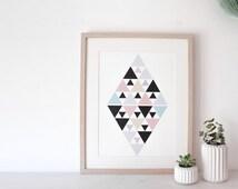 "Graphic poster ""PINK DIAMOND"" - graphic design poster - scandinavian inspiration"