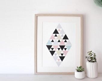 "Affiche losange ""PINK DIAMOND"" - poster graphique inspiration scandinave."