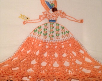 Vintage Southern Belle Peach Crochet Embroidered Pillowcase