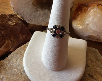 18kt White Gold Antique Diamond and Sapphire Ring