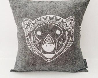 "Scandinavian Bear cotton / linen hand screen printed pillow / cushion cover 14""x14"". Black + white stripes, decorative textile. White ink."