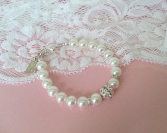 Personalized Flower Girl Gifts Swarovski Pearl Bracelet Christmas gifts Birthday Gift Idea Wedding Jewelry White  Girl Jewelry