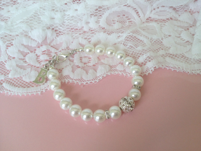 Personalized Flower Girl Gifts Swarovski Pearl Bracelet
