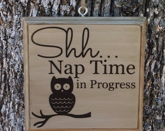 Owl Nap Time Door Sign 25 Colors