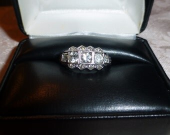 Vintage Clark and Coombs Sterling Silver 3 Stone Ring with Accent Stones - Size 8