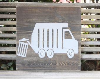 Wooden Truck Wall Art - Garbage truck