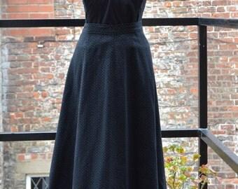 1950s black and grey fleck wool skirt
