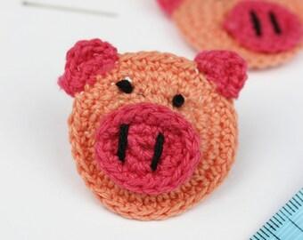 Crochet Pigs 4pk appliques crochet animals handmade pig faces farm animals packs crochet accessories supplies piglets