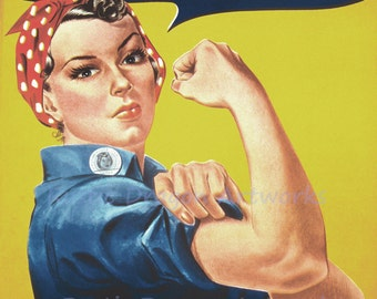 "J Howard Miller ""We Can Do It"" Rosie the Riveter c1942 WWII Reproduction Digital Print"