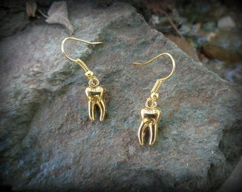 Tooth Fairy - Tiny creepy-cute human tooth earrings, in a golden finish.